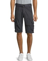 Xray Jeans Belted Cotton Cargo Shorts - Blue