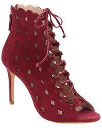Rachel Zoe Ashlyn Peep-toe Bootie (ruby Red Suede) Dress Lace-up Boots