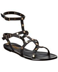 Kaanas Lapa Leather Sandal - Black