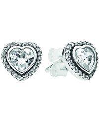 PANDORA Silver Cz Sparkling Heart Stud Earrings - Metallic