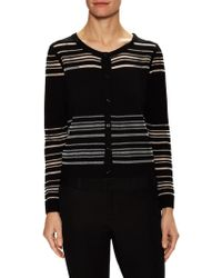 MILLY Invisible Stripe Cardigan - Black