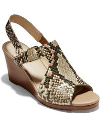 Cole Haan Elsie Lace Wedge Heel Round Toe Nude Leather