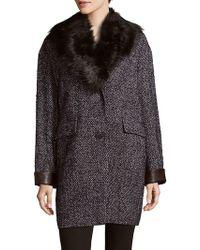 Dawn Levy - Kaba Faux Fur-trimmed Coat - Lyst