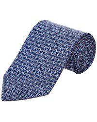 Ferragamo Navy Gancio Silk Tie - Blue