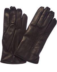 Portolano Men's Black Cashmere-lined Leather Gloves