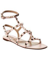 Valentino Rockstud Caged Leather Ankle Strap Sandal - Pink