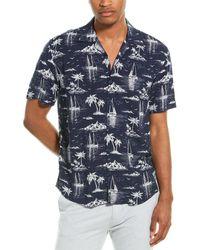 Benson Camp Collar Woven Shirt - Blue