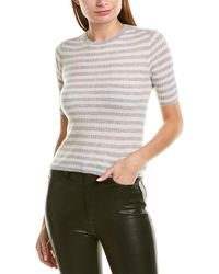 Vince Striped Elbow Sleeve Cashmere Pullover - Gray