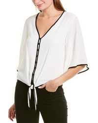 Vince Camuto Bell-sleeve Tie-front Top - White