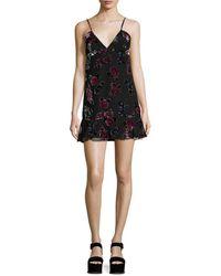 Anna Sui Rose Velvet Burn Out Tank Dress - Black