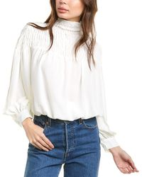 1.STATE Smocked Tie-back Top - White