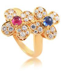 Van Cleef & Arpels Vintage Van Cleef & Arpels 18k 1.35 Ct. Tw. Diamond & Gemstone Ring - Metallic
