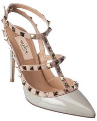 Valentino Rockstud Caged 100 Patent Ankle Strap Pump - Gray