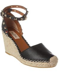 Valentino Rockstud Double Leather Wedge Espadrilles - Black