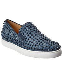 Christian Louboutin Roller Suede Boat Shoe - Blue
