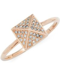 EF Collection - Pyramid Diamond Solitaire Ring - Lyst