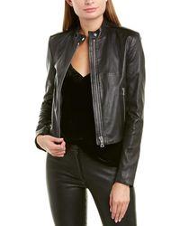 Theory Bavewick L New Stretch Leather Jacket - Black