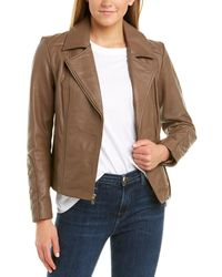 Cole Haan Diamond Quilted Leather Moto Jacket - Brown