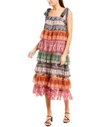 Zimmermann Tiered Silk-blend Midi Dress - Orange