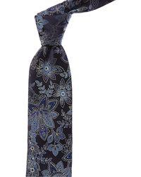 Canali Floral Silk Tie - Blue