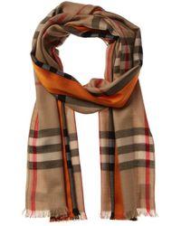 Burberry Lightweight Check Cashmere & Silk-blend Scarf - Natural