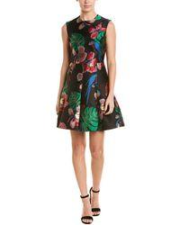 Valentino Tropical Dream Brocade Sleeveless Dress - Black