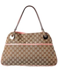 Gucci Brown GG Canvas & Pink Leather Ellipse Shoulder Bag
