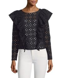 Plenty by Tracy Reese - Eyelet Ruffle Cotton Blouse - Lyst