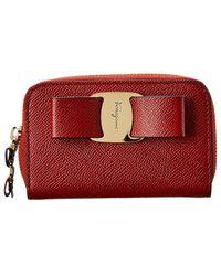 Ferragamo Vara Bow Leather Card Holder - Red