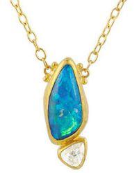 Gurhan Elements 24k, 22k, & 18k 5.88 Ct. Tw. Diamond & Opal Necklace - Blue