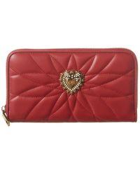 Dolce & Gabbana Devotion Quilted Leather Zip Around Wallet - Red