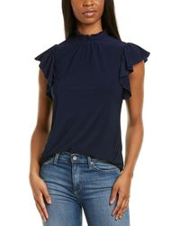1.STATE Ruffle Sleeve Smocked Neck Top - Blue