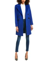 Sam Edelman Double-breasted Wool-blend Coat - Blue