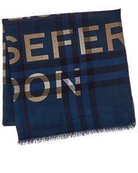 Burberry Check Wool & Silk-blend Scarf - Blue
