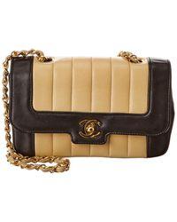 Chanel Black & Beige Lambskin Leather Border Tab Mini Single Flap Bag - Natural