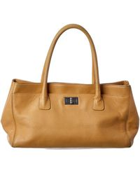 Chanel Beige Calfskin Leather Cerf Tote - Natural