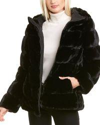 Via Spiga Grooved Hooded Coat - Black