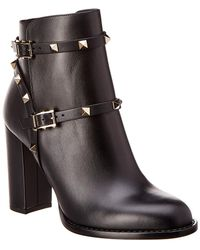 Valentino - Rockstud Leather Ankle Boot - Lyst