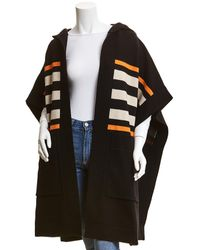 Burberry Monogram Intarsia Wool & Cashmere-blend Cape - Black