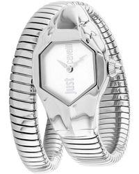 Just Cavalli Glam Snake Quartz Silver Dial Ladies Watch - Metallic
