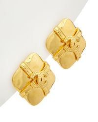Chanel Gold-tone Cc Diamond-shaped Earrings - Metallic
