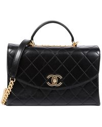 Chanel Black Quilted Leather Large Single Flap Cc Satchel