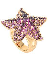 Pomellato 18k Rose Gold Rhodolite Starfish Ring - Pink