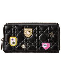 Dior Leather Zip-around Wallet - Black