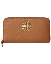 Tory Burch Britten Leather Continental Wallet - Brown