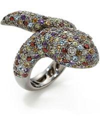 Vendoro - 18k Black Gold, 0.15 Total Ct. Diamond & Multicolor Sapphire Snake Ring - Lyst