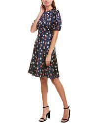 MILLY Cynthia Silk-blend A-line Dress - Blue