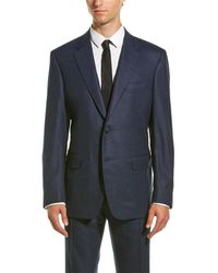 Canali Wool-blend Suit With Flat Front Pant - Blue