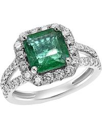 Diana M. Jewels . Fine Jewellery 18k 3.41 Ct. Tw. Diamond & Emerald Ring - Green