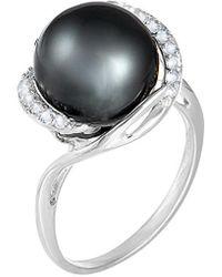 Splendid Silver Tahitian Pearl Ring - Metallic